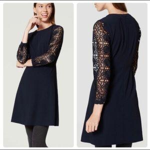 NWT LOFT Navy Lace Sleeve A-line Dress